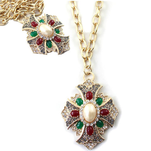 Large Ornate Statement Jewel Studded Stylised Cross Necklace