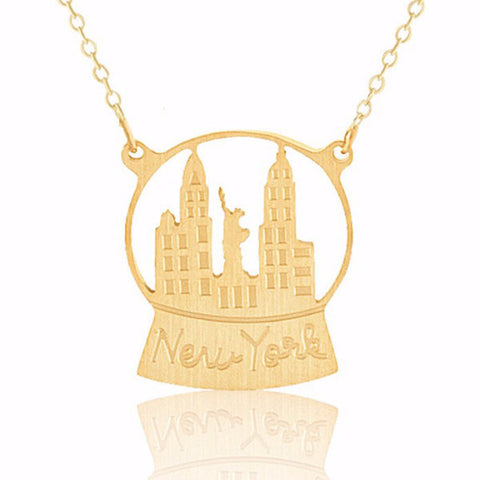 Golden New York Snowglobe Stainless Steel Ditsy Necklace