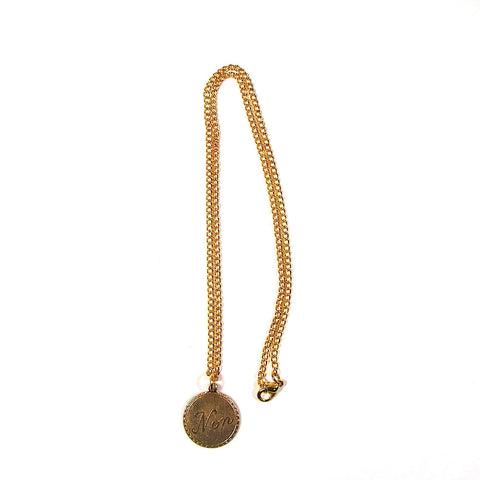 Non / No Brass Charm on Gold Plated Chain Pendant
