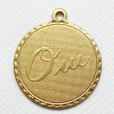 Oui / Yes Brass Charm Pendant