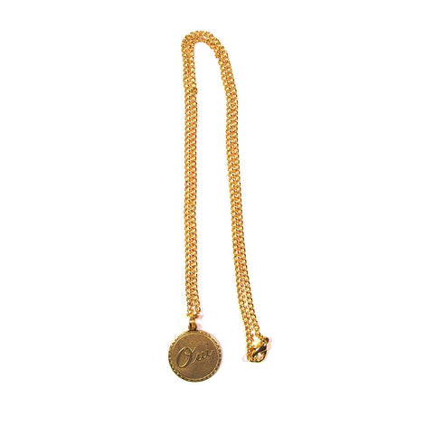 Oui / Yes Brass Charm on Gold Plated Chain Pendant