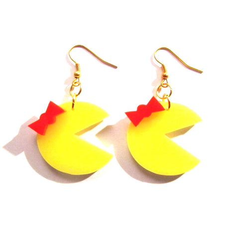 Miss Pac Man Style Retro Earrings