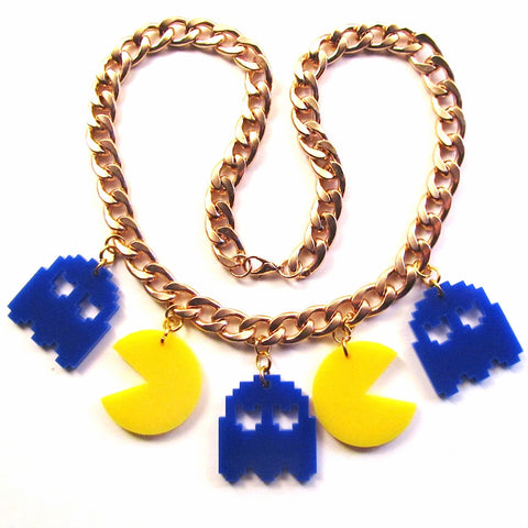 Pac Man and Ghosts style Chunky Chain Gold Necklace