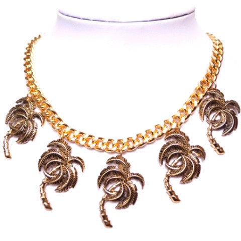 Gold Palm Trees Statement Chain Necklace