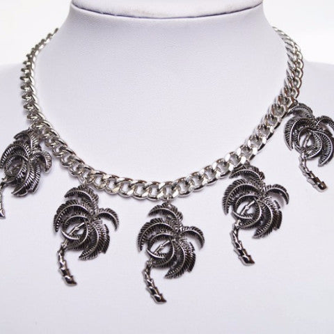 Silver Palm Trees Statement Chain Necklace