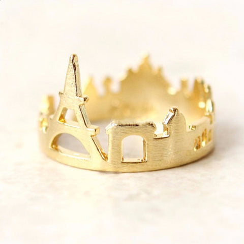 Quirky Golden Paris Skyline Open Stainless Steel Ring