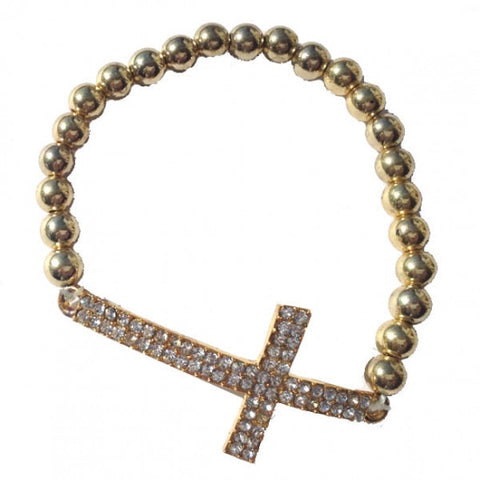 Crystal Studded Cross Ball Bracelet