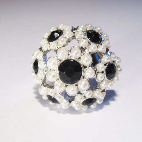 Pretty Faux Pearl and Sapphire Silver Tone Flower Ring
