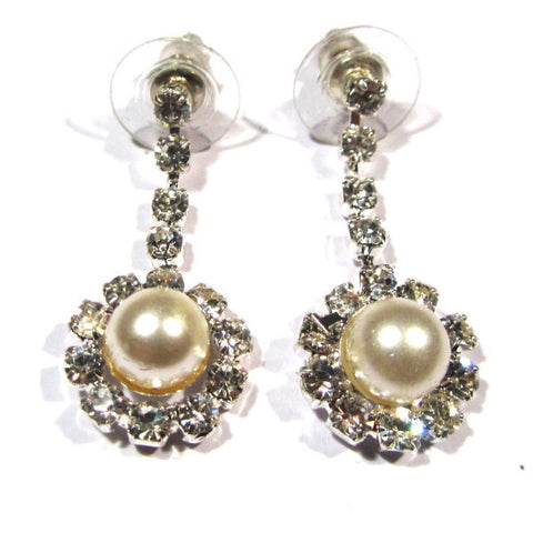 Dressy Diamante and Pearl Style Drop Earrings