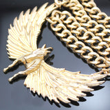 Golden Flying Horse Pegasus Chunky Chain Necklace