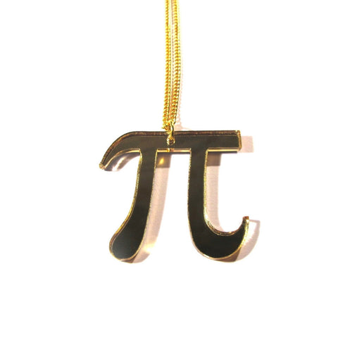 Gold Mirror Acrylic PI Symbol Necklace