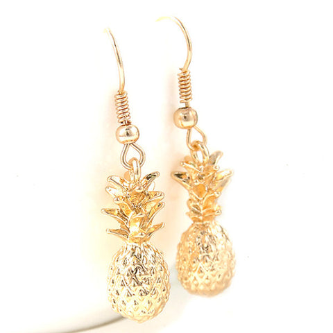 Dainty Gold Tone 3D Whole Pineapple Fashion Earrings