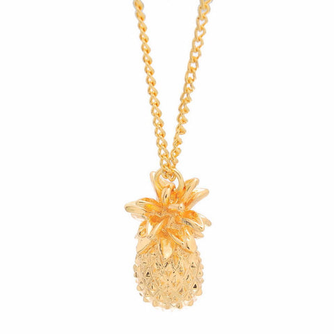 Delicate Golden 3D Whole Pineapple Fashion Pendant Necklace