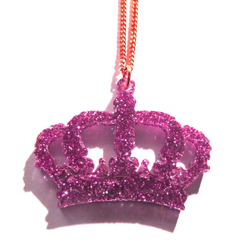 Gorgeous Pink Glitter Crown Acrylic Necklace