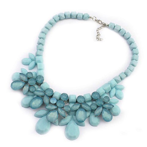 Fabulous Plastic Acrylic Bead and Gems Colourful Necklace (BLUE)