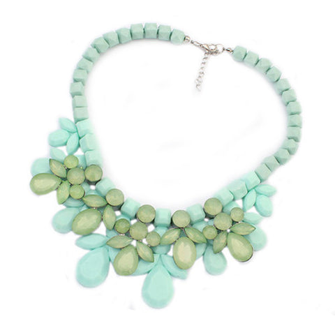 Fabulous Plastic Acrylic Bead and Gems Colourful Necklace (GREEN)