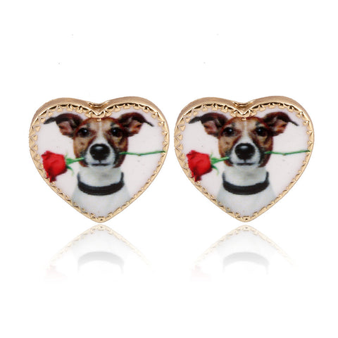 Adorable Ditsy Puppy Dog Heart Stud Earrings