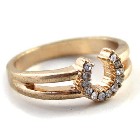 Golden Diamante Horse Shoe Ring