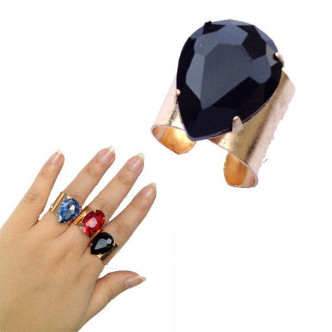 Black or Red Teardrop Gem Golden Cuff Ring