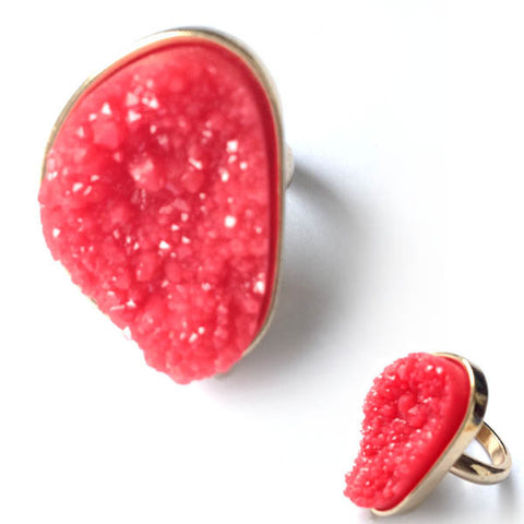 Gold Tone Red Stone Druzy Style Ring