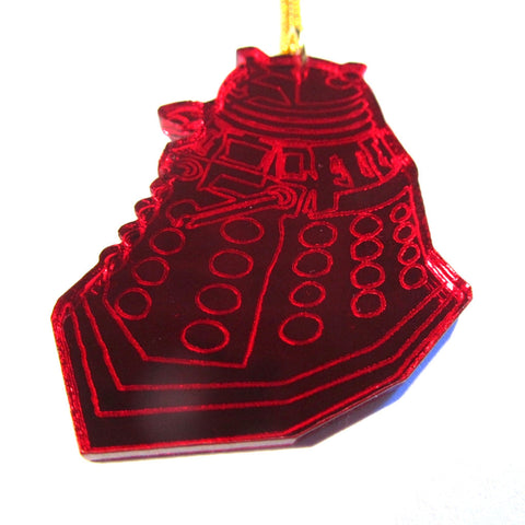 Large Red Mirror Doctor Who Style Dalek Pendant Necklace