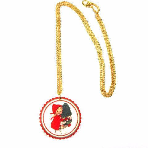 Vintage Style Young Girl Pretty Scalloped Christmas Pendant