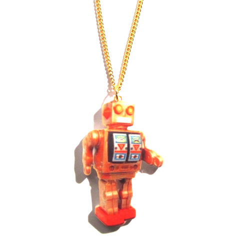 Retro Mr D-Cell Tin Robot Print Necklace