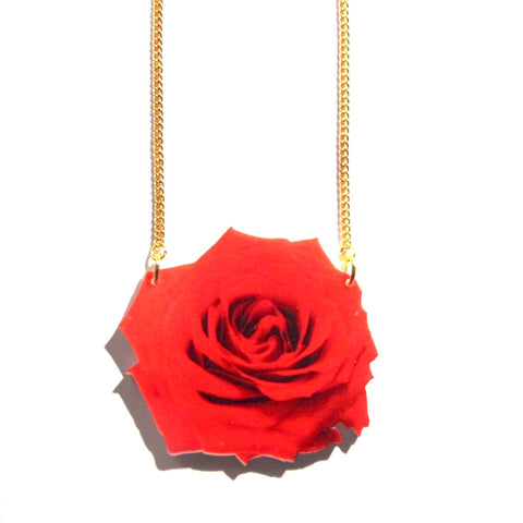 Gorgeous Large Red Rose Print Acrylic Necklace
