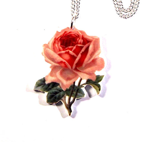 Pretty Pink Rose Print Acrylic Pendant Necklace
