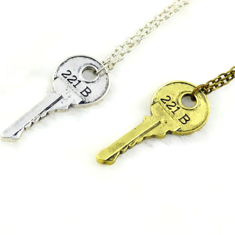 Sherlock 221B Baker Street Faux Modern Key Necklace