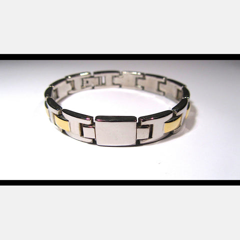 Glossy Silver and Gold Tone Links Hinged Bracelet