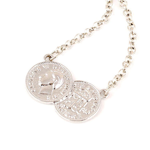 Silver Tone Double Coin Necklace