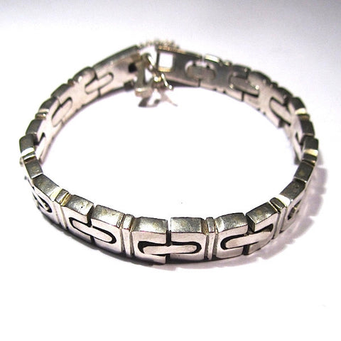 Stamped Solid Mexican Silver Interlocking Bracelet