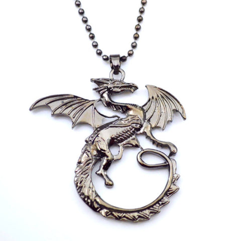 Magnificent Smaug Dragon Metallic Black Pendant Necklace