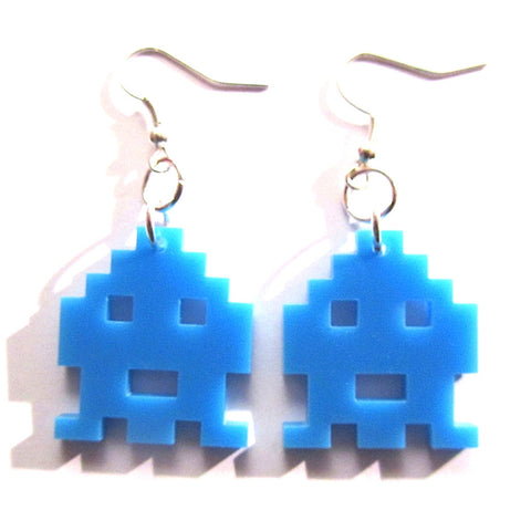 Brilliant Space Invader Game Style Earrings