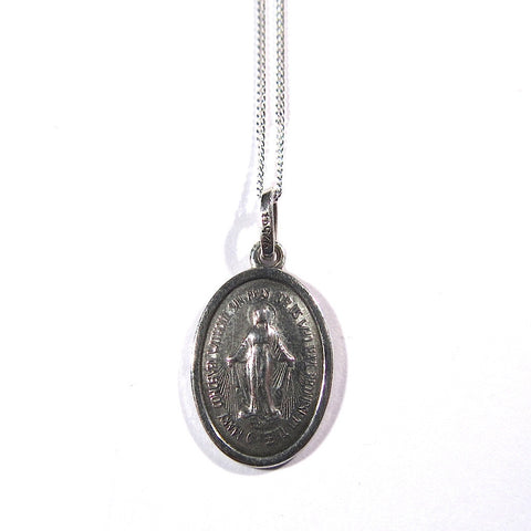 Vintage Stamped Silver Miraculous Virgin Mary Medal Pendant