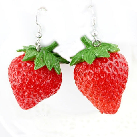 Stupendous Strawberries Resin 3D Earrings