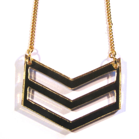 Gold Mirror Acrylic Chevron Necklace
