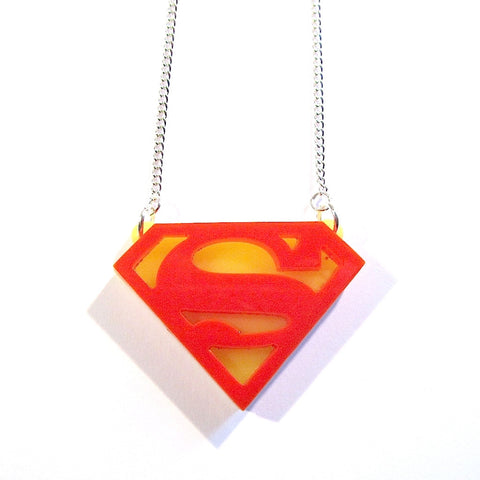 Superman Insignia Acrylic Necklace
