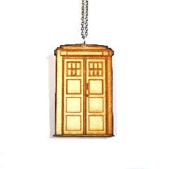 Wooden TARDIS Laser-cut Engraved Necklace