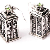 Doctor Who TARDIS Style Silver Drop Earrings