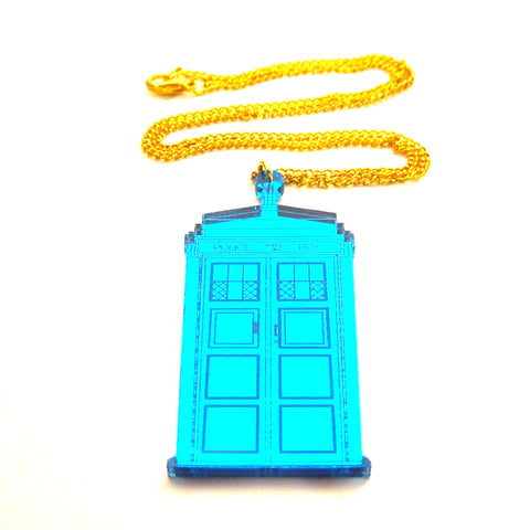 Doctor Who TARDIS Shaped Blue Mirror Acrylic Pendant