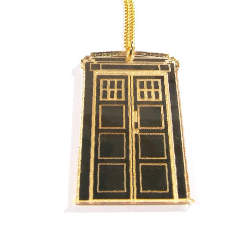Large Gold Mirror Doctor Who Style TARDIS Pendant Necklace