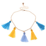 Blue & Golden Orange Colour Summer Fun Funky Tassel Anklet