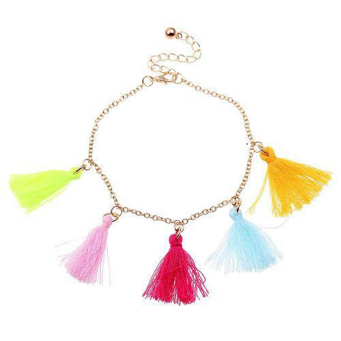 Bright Multi Colour Summer Fun Funky Tassel Anklet
