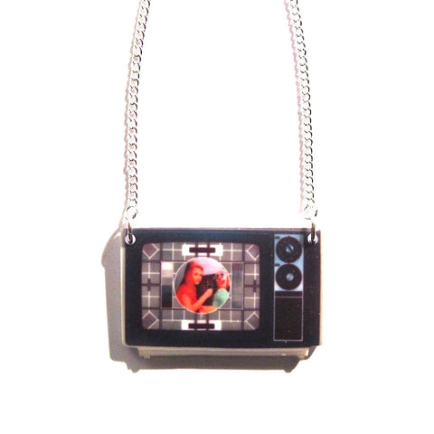 Retro TV Test Card Print Acrylic Necklace