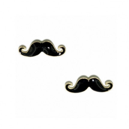 Black Gold Enamel Moustache / Mustache Small Stud Earrings