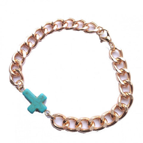 Turquoise Cross Gold Chain Bracelet