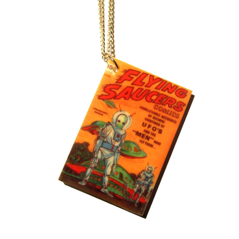 UFO Flying Saucers Aliens Comic Book Print Acrylic Pendant