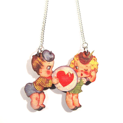 Wonderful Vintage Style Cute Kids Bubblegum Love Wooden Necklace